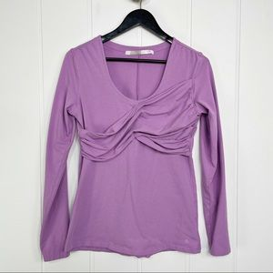 Athleta Lilac Purple Scoop Neck Faux Wrap Top
